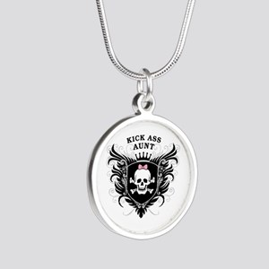 Kick Ass Aunt Silver Round Necklace