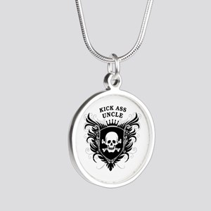 Kick Ass Uncle Silver Round Necklace