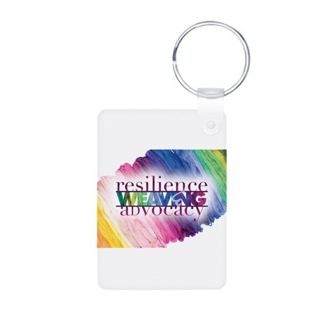 Weaving R and A Aluminum Photo Keychain