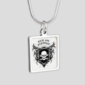 Kick Ass Stepdad Silver Square Necklace