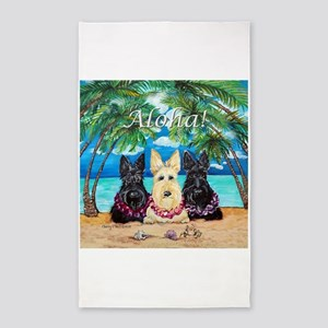 Scottish Terrier Aloha Paradise! 3'x5' Area Rug