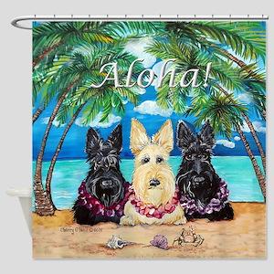 Scottish Terrier Aloha Paradise! Shower Curtain