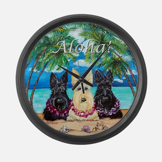 Scottish Terrier Aloha Paradise! Large Wall Clock