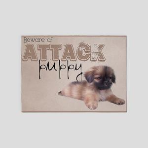 Pekingese Puppy 1 5'x7'Area Rug