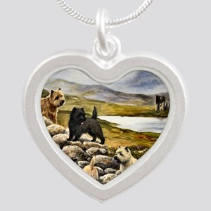 Cairn Terrier Silver Heart Necklace