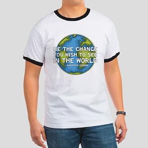 Be the Change - Earth - Green Vine Ringer T