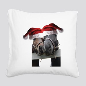 Christmas Horses In Love Square Canvas Pillow