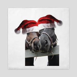 Christmas Horses In Love Queen Duvet