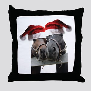 Christmas Horses In Love Throw Pillow