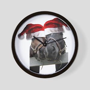 Christmas Horses In Love Wall Clock