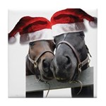 Christmas Horses In Love Tile Coaster
