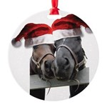 Christmas Horses In Love Round Ornament