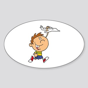 cute boy kid playing with plane Sticker (Oval)
