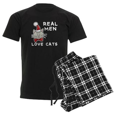 Real Men Love Cats Men's Dark Pajamas