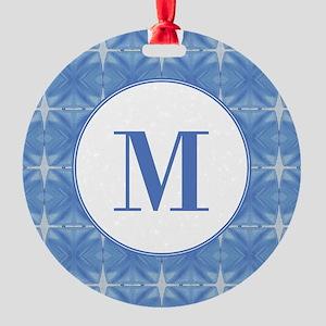 Blue Glacier Monogram Round Ornament