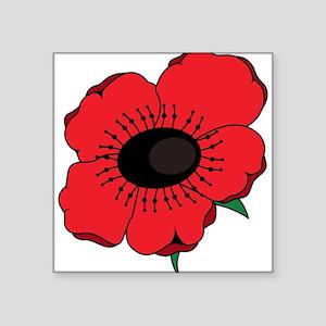 "Poppy Flower Square Sticker 3"" x 3"""