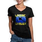 Logic Bomber 2 Women's V-Neck Dark T-Shirt