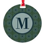 Cathedral Blue Monogram Round Ornament