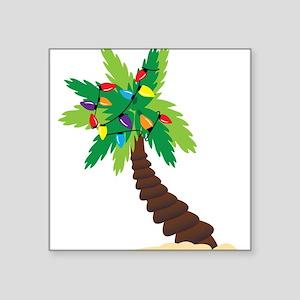 "Christmas Palm Tree Square Sticker 3"" x 3"""