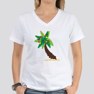 Christmas Palm Tree Women's V-Neck T-Shirt