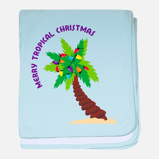 Merry Tropical Christmas baby blanket