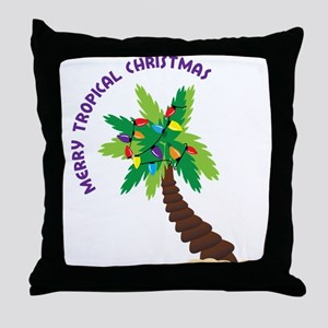 Merry Tropical Christmas Throw Pillow