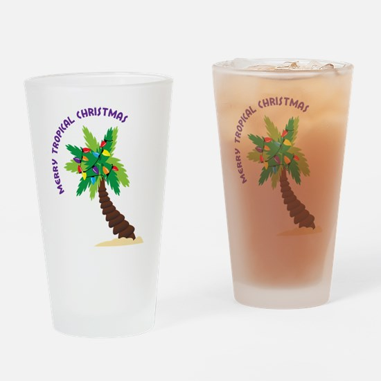 Merry Tropical Christmas Drinking Glass