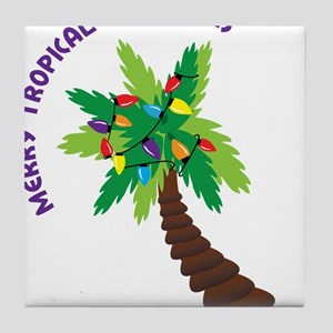 Merry Tropical Christmas Tile Coaster