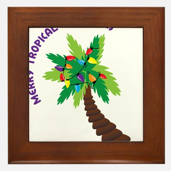 Merry Tropical Christmas Framed Tile
