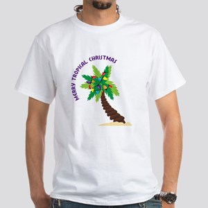 Merry Tropical Christmas White T-Shirt
