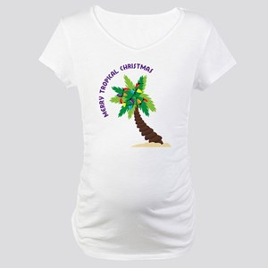 Merry Tropical Christmas Maternity T-Shirt