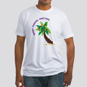 Merry Tropical Christmas Fitted T-Shirt