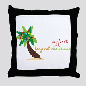 First Tropical Christmas Throw Pillow