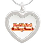 Worlds Best Skating Coach Silver Heart Necklace
