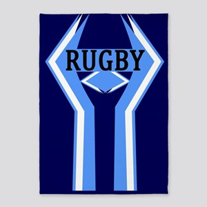 Rugby Blue and White 5'x7'Area Rug