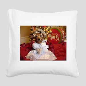 Dachshund Christmas angel Square Canvas Pillow
