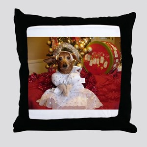 Dachshund Christmas angel Throw Pillow