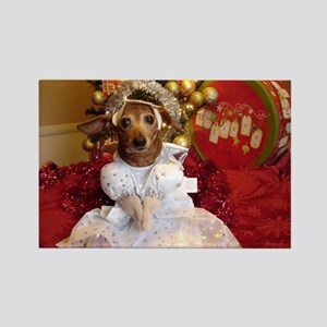 Dachshund Christmas angel Rectangle Magnet