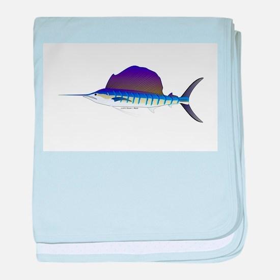Sailfish fish baby blanket