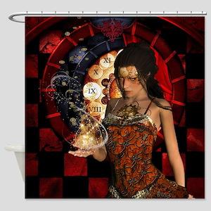 Wonderful steampunk lady with clocks and gears Sho