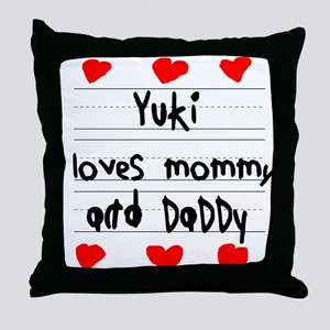 Yuki Loves Mommy and Daddy Throw Pillow