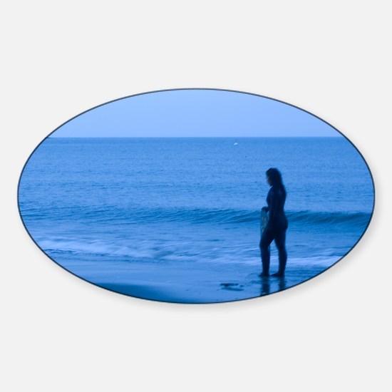 Winter Surfer Sticker (Oval)