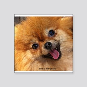 "Happy Pomeranian Square Sticker 3"" x 3"""