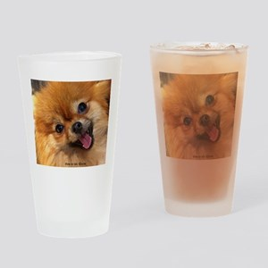 Happy Pomeranian Drinking Glass