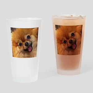 Happy Pomeranian Drinking Glass