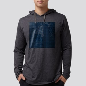 Sashiko-style Embroidery Mens Hooded Shirt