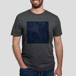 Sashiko-style Embroidery Mens Tri-blend T-Shirt