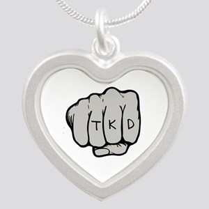 Martial Arts TKD Fist Silver Heart Necklace