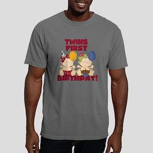 Twin Girls First Birthda Mens Comfort Colors Shirt