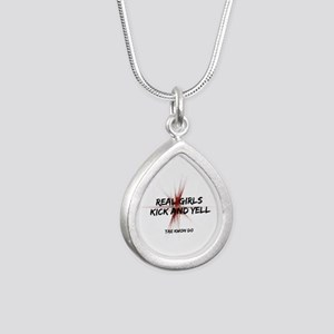 TKD Girls Kick and Yell Silver Teardrop Necklace